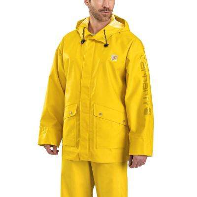 Men's Tall X-Large Tall Yellow Polyethylene/Polyester Waterproof Rain Storm Coat
