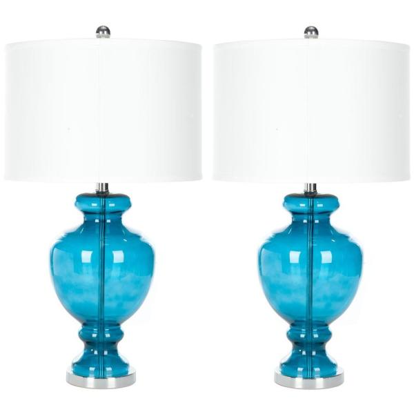Glass 28 in. Turquoise Vase Table Lamp with Off-White Shade (Set of 2)