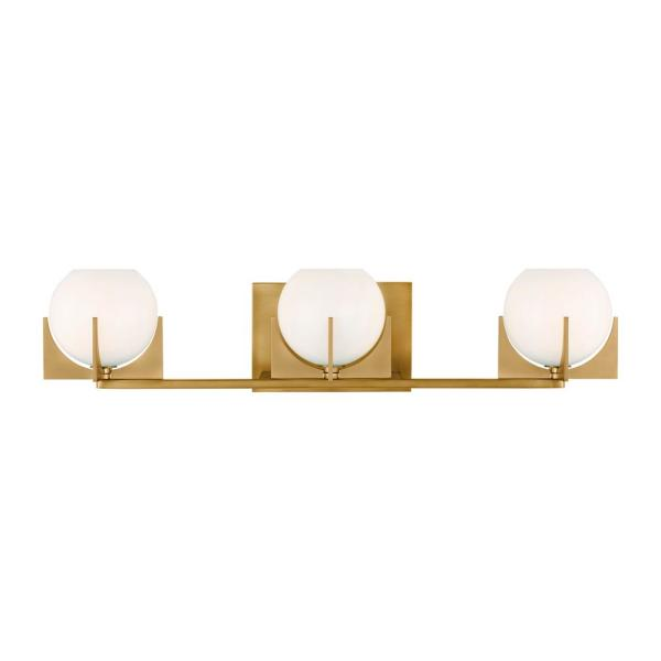 Abbott 24 in. W. 3-Light Burnished Brass Vanity Light with Round Milk Glass Shades