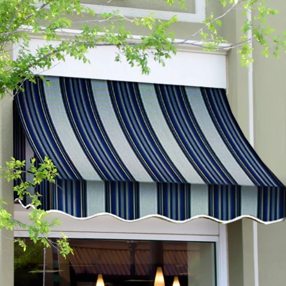 AWNTECH 20 ft. Nantucket Window/Entry Awning (56 in. H x 48 in. D) in Navy/White Stripe