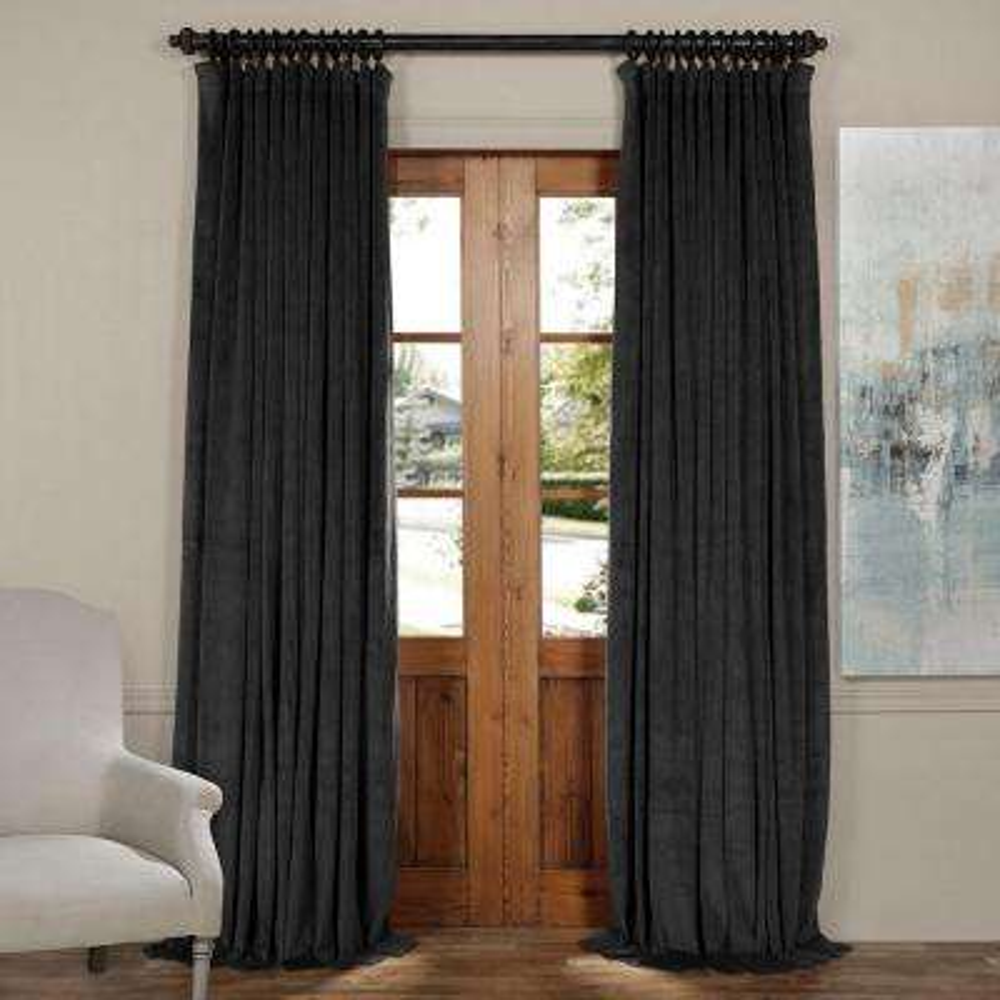 Blackout Signature Gunmetal Grey Doublewide Blackout Velvet Curtain - 100 in. W x 120 in. L (1 Panel)
