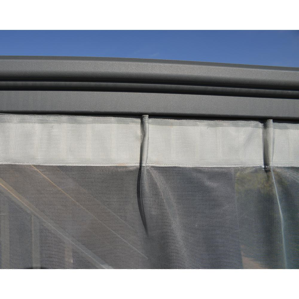 Palram Milano 4300/Martinique 5000 Garden Gazebo Netting Set in Gray (6-Pieces)