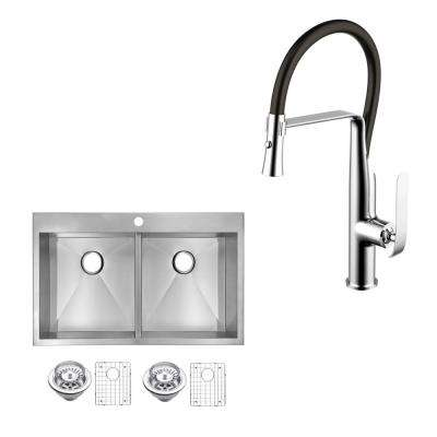 All-In-One Top Mount Stainless Steel 33 in. 50/50 Double Bowl Kitchen Sink with Faucet in Chrome Sink Kit