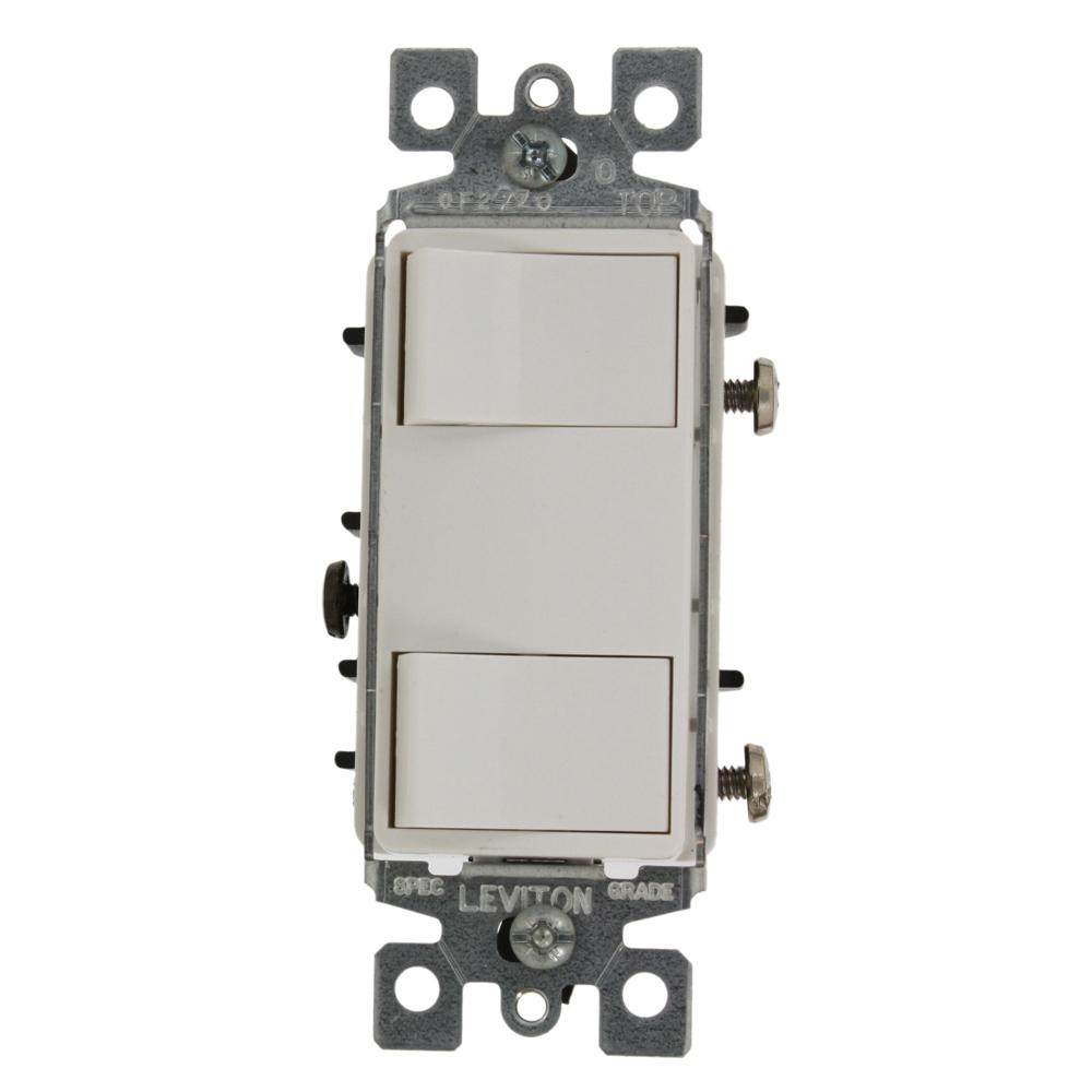 Leviton decora 15 amp single pole ac quiet switch white r72 05601 15 amp commercial grade combination two single pole grounding rocker switches sciox Choice Image