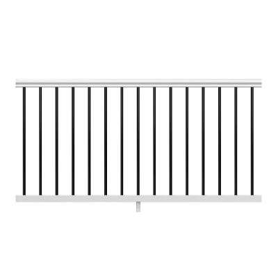 Traditional 67.75 in. x 33.25 in. White Vinyl Rail Kit with Black Metal Balusters