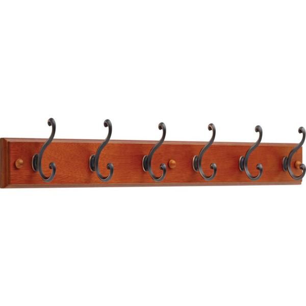 27 in. Dark Caramel and Venetian Bronze Scroll Hook Rack