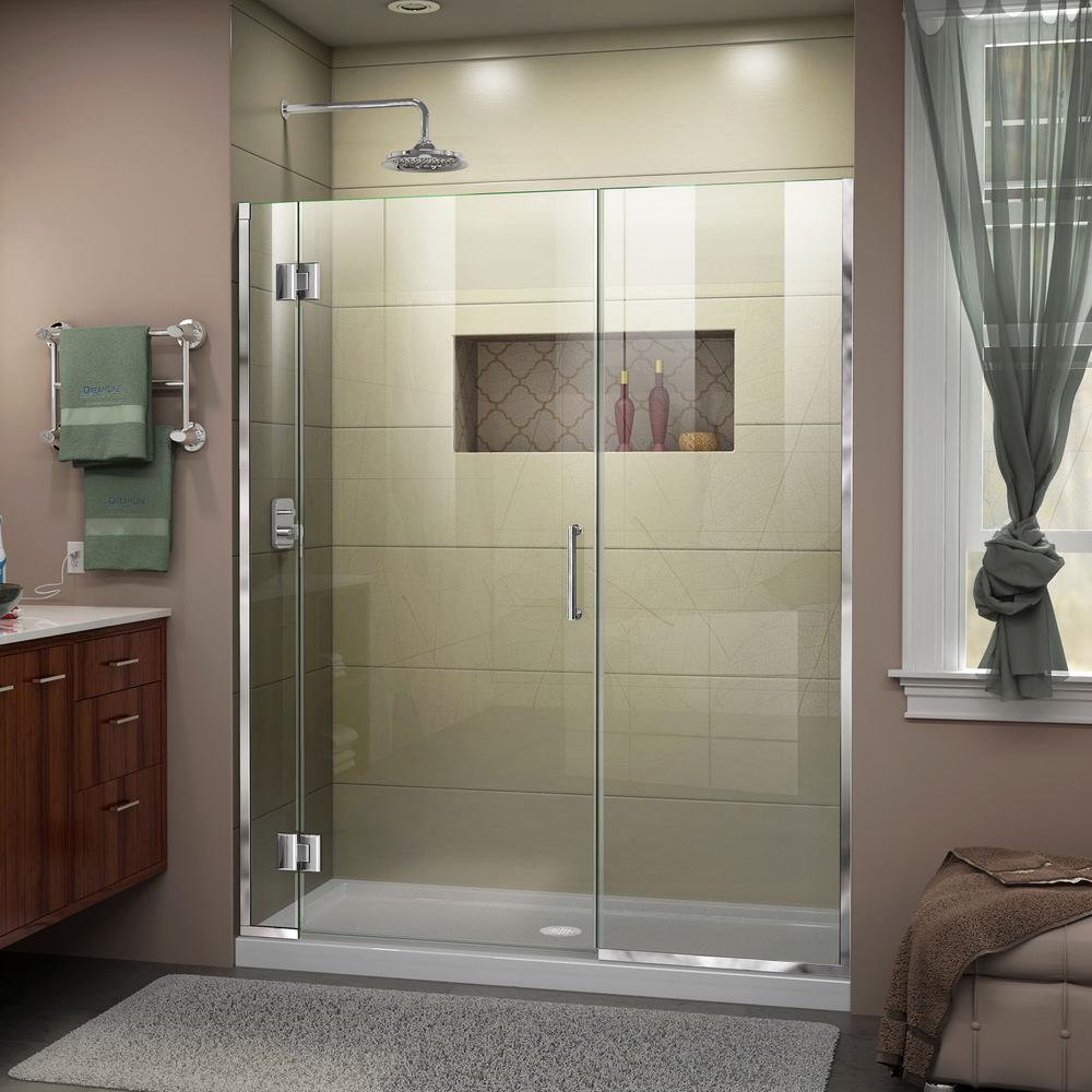 Frameless Shower Doors.Dreamline Unidoor X 45 To 45 5 In X 72 In Frameless Hinged Shower Door In Chrome