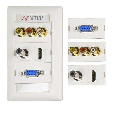Customizable Unimedia Wall Plate and ID Tag - HDMI, VGA, 3.5 mm Audio, Composite Video & RCA Stereo Audio Pass Through