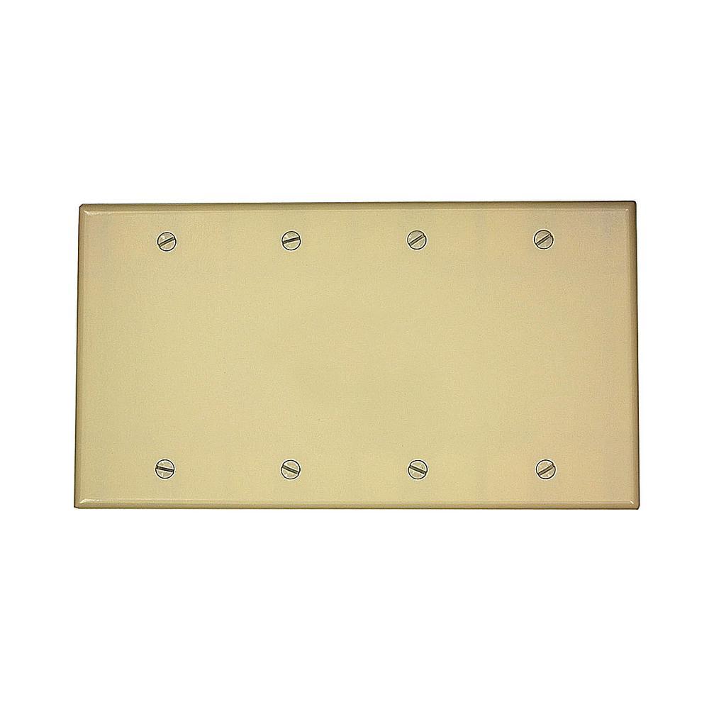 4-Gang No Device Blank Wallplate, Standard Size, Thermoset, Box Mount, Ivory