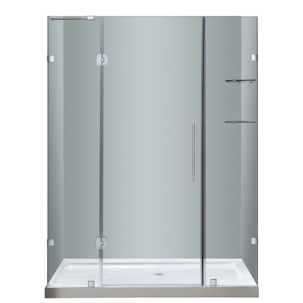 Aston Soleil 60 in. x 77-1/2 in. Completely Frameless Hinge Shower ...
