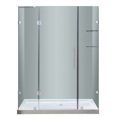 Soleil 60 in. x 77-1/2 in. Completely Frameless Hinge Shower Door in Stainless Steel with Glass Shelves and Center Base