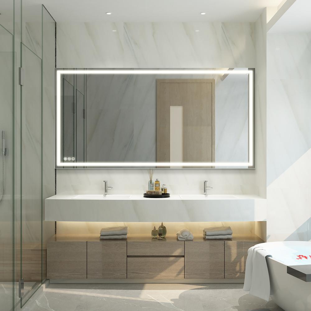 72 in. x 36 in. LED Lighted Single Frameless Bathroom Mirror