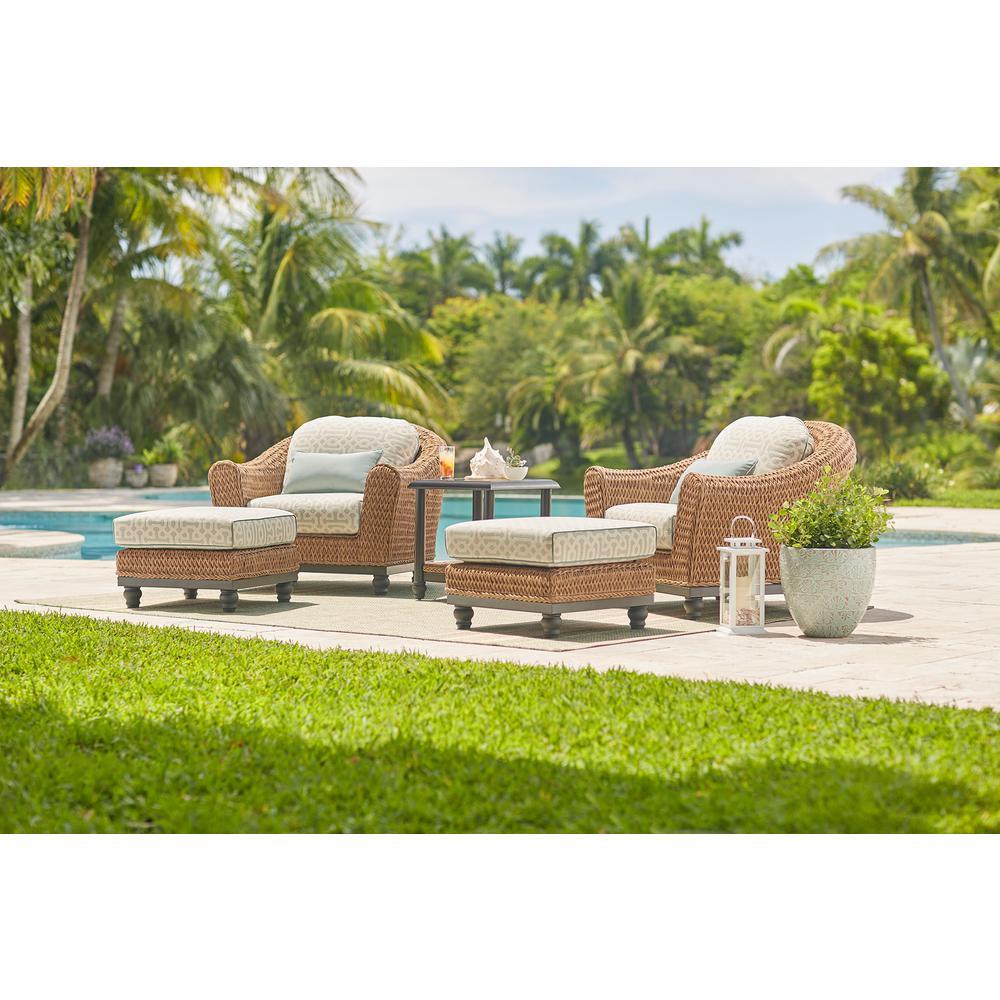 Camden Light Brown Seagrass Wicker Outdoor Patio Ottoman with Sunbrella Cast Spa & Fretwork Mist Cushions