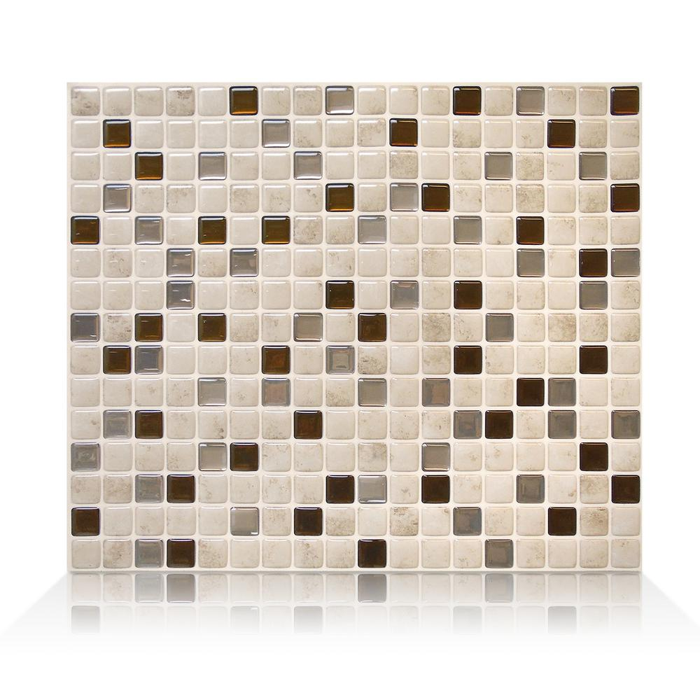 SmartTiles Smart Tiles Minimo Cantera 11.55 in. W x 9.64 in. H Peel and Stick Self-Adhesive Decorative Mosaic Wall Tile Backsplash (6-Pack), Antique Silver (