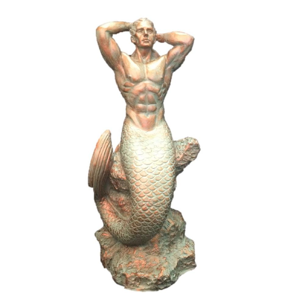 H Bronze Patina Sexy Merman Mermaid Sitting On Rock Nautical Beach Statue