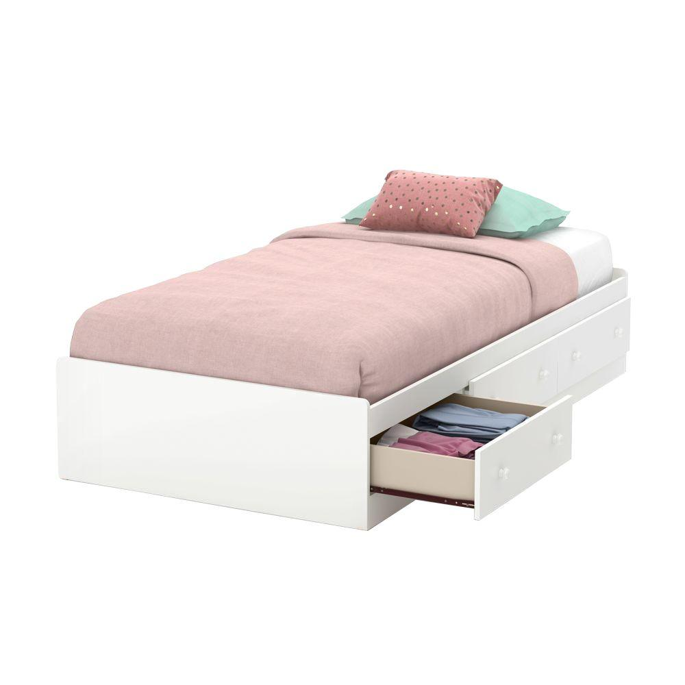 Little Smileys White Twin Kids Storage Bed