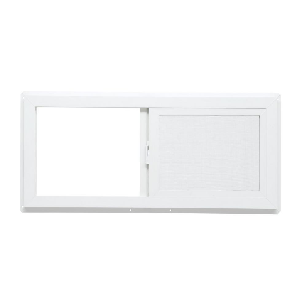 Single sliding vinyl window white tafco windows left hand for Insulated vinyl windows