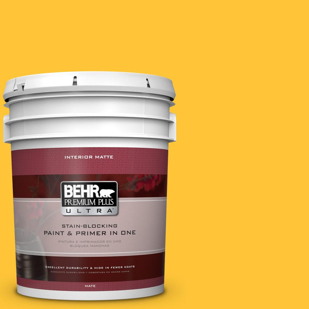 BEHR Premium Plus Ultra 5 gal. #330B-7 Sunflower Flat/Matte Interior Paint