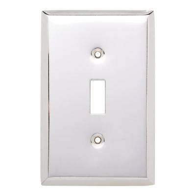 Stamped Square Decorative Single Switch Plate, Polished Chrome
