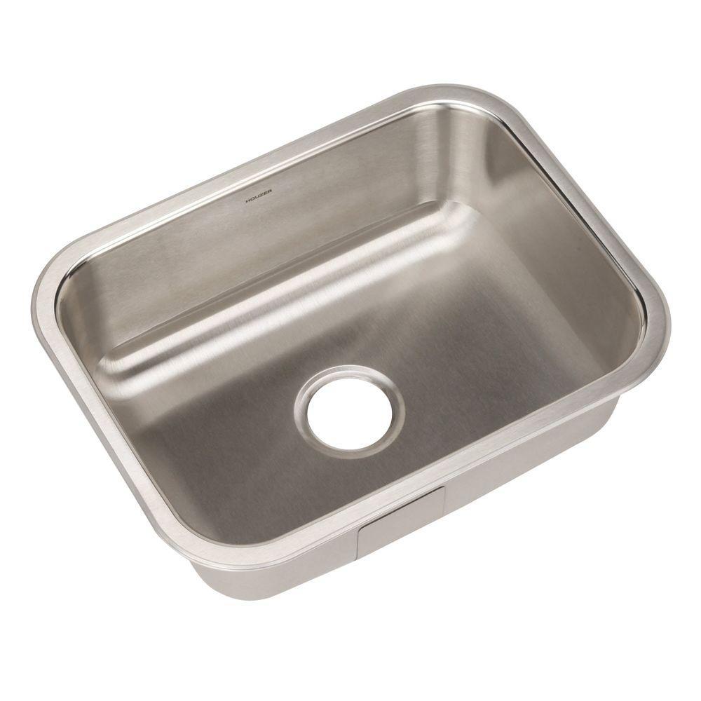 HOUZER Elite Series Undermount Stainless Steel 23 In. Single Bowl Kitchen  Sink ES 2408 1   The Home Depot