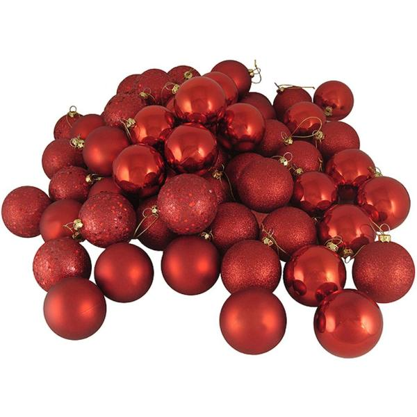 3.25 in. (80 mm) Shatterproof Red Hot 4-Finish Christmas Ball Ornaments (32-Count)