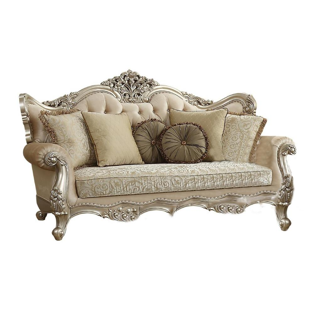 Amelia 41 in. Champagne Pattern Fabric 4-Seater English Rolled Arm Sofa with Removable Cushions