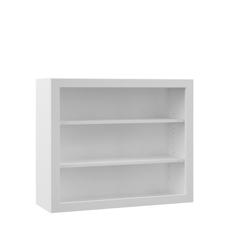 Hampton Bay Designer Series Melvern Assembled 36x30x12 in. Wall Open Shelf  Kitchen Cabinet in White