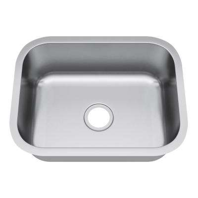 Undermount Stainless Steel 23 in. Single Bowl Kitchen Sink in Satin Stainless Steel