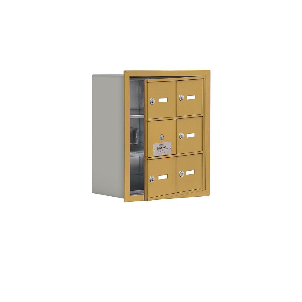 19100 Series 16.25 in. W x 18.75 in. H x 8.75 in. D 5 Doors Cell Phone Locker Recess Mount Keyed Lock in Gold