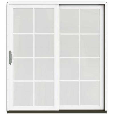 72 in. x 80 in. W-2500 Contemporary Silver Clad Wood Right-Hand 8 Lite Sliding Patio Door w/White Paint Interior