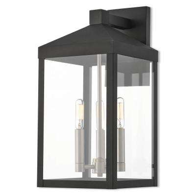 Nyack Collection 3-Light Black Outdoor Wall Mount Lantern