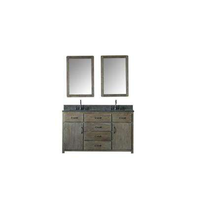 60 in. W x 22 in. D Vanity in Brushed Natural with Moon Stone Vanity Top in Black with White Basin and Mirror