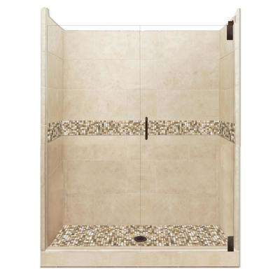 Roma Grand Hinged 36 in. x 48 in. x 80 in. Center Drain Alcove Shower Kit in Brown Sugar and Old Bronze Hardware