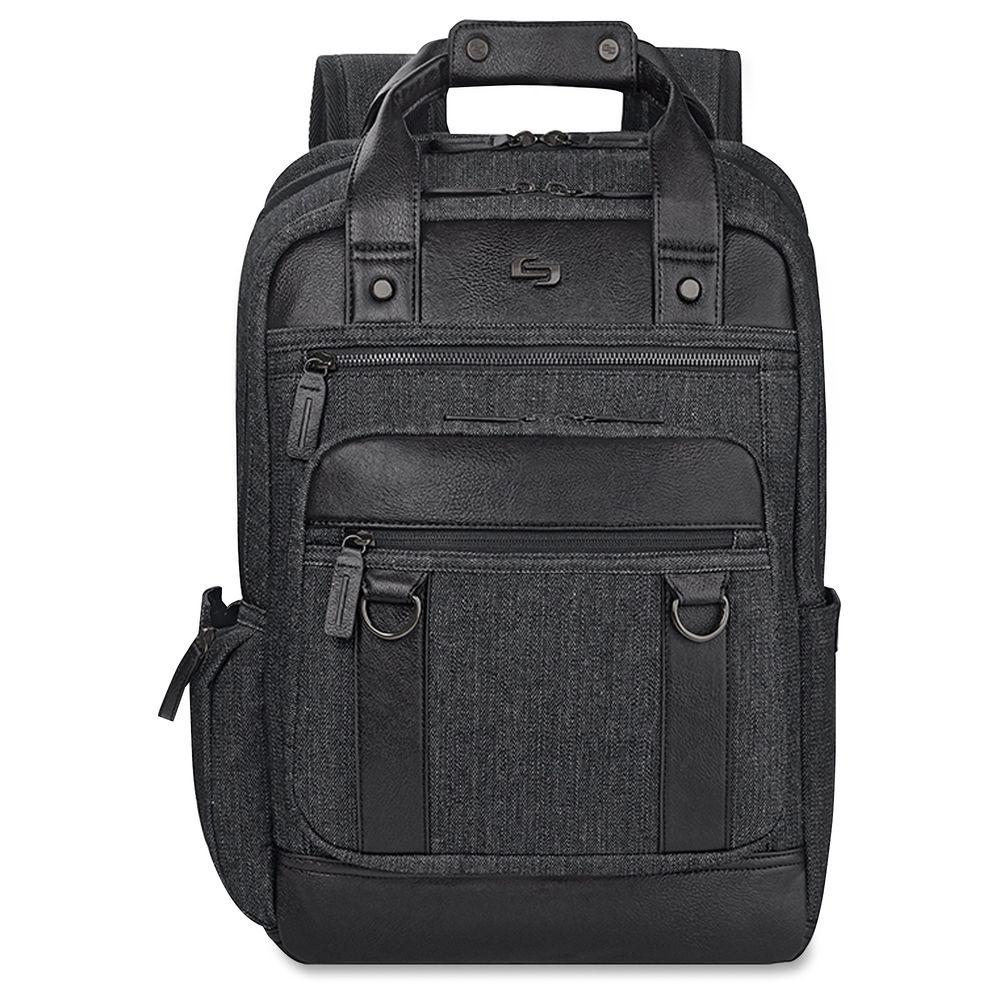 15.6 in. Black Cotton/Vinyl Executive Notebook Carrying Case with Shoulder Strap