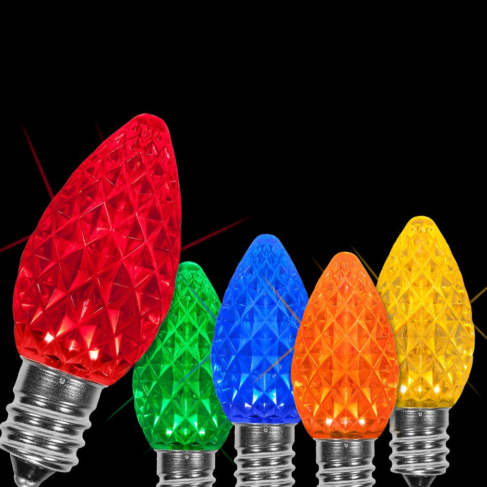C7 Led Christmas Lights.Wintergreen Lighting Opticore C7 Led Multi Color Faceted Christmas Light Bulbs 25 Pack
