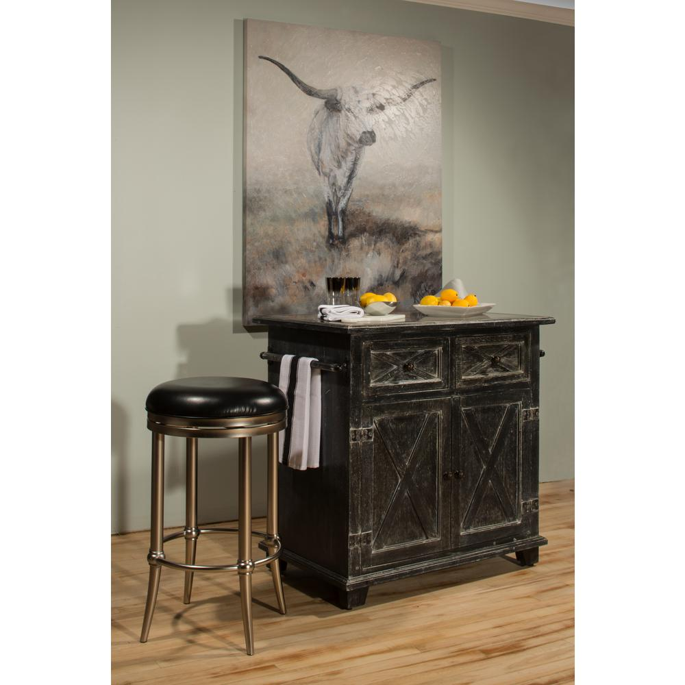 Exceptional Hillsdale Furniture Bellefonte Black Kitchen Island With Marble Top