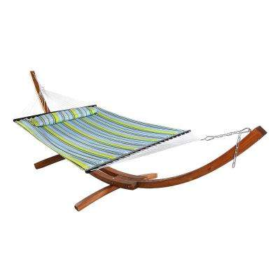 11-3/4 ft. Quilted 2-Person Hammock with 13 ft. Wooden Curved Arc Stand in Blue/Green