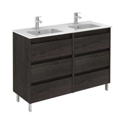Sansa 48 in. W x 18 in. D Vanity in Essence Wenge with Ceramic Vanity Top in White