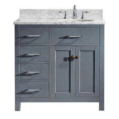 Caroline Parkway 36 in. W x 22 in. D Single Vanity in Gray with Marble Vanity Top in White with White Basin