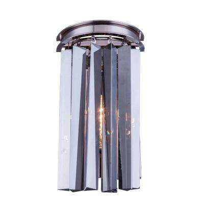 Sydney 2-Light Polished Nickel Wall Sconce with Silver Shade Grey Crystal