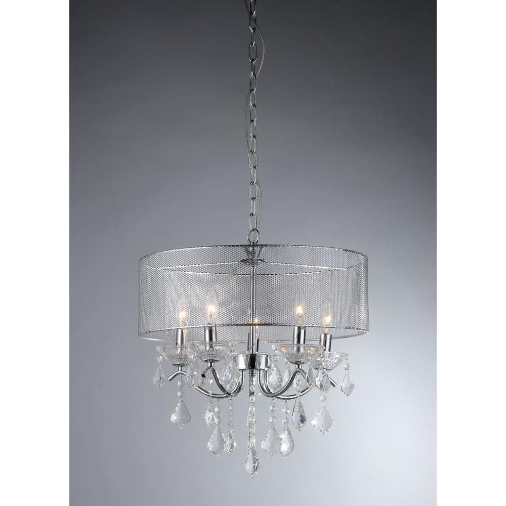 Warehouse of Tiffany Isabelle 5-Light Chrome Crystal Chandelier
