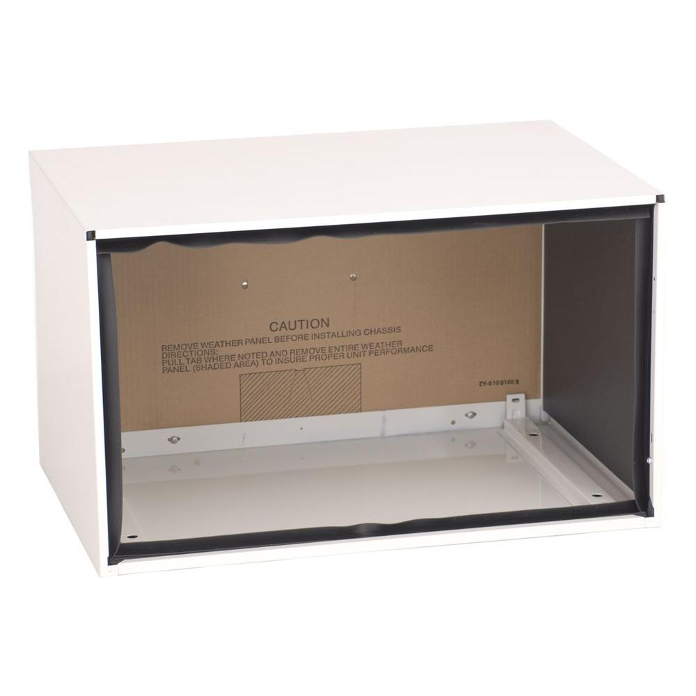 Amana 26 in. Through-the-Wall Metal Sleeve Amana wall sleeve is a solid-sided, insulated metal sleeve. The sleeves are required for new installations of 26 in. Through-the-Wall Air Conditioners, Air Conditioners with Heat, and Heat Pump Units. Solid side and solid bottom with weather board and stamped aluminum grille.