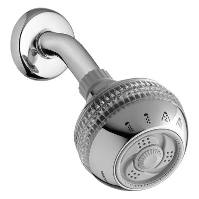 4-Spray 3.3 in. Single Wall Mount Low Flow Fixed Adjustable Shower Head in Chrome