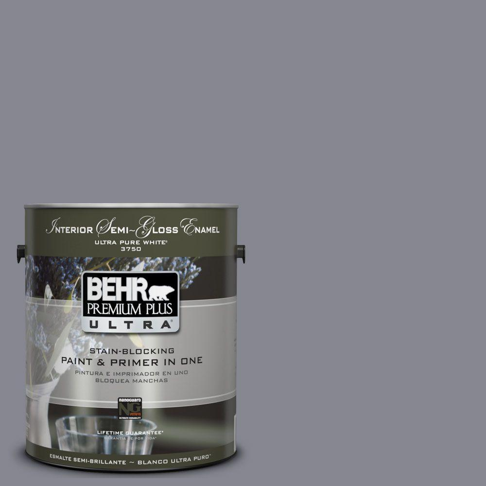 BEHR Premium Plus Ultra 1-gal. #UL240-6 Gray Heather Interior Semi-Gloss Enamel Paint