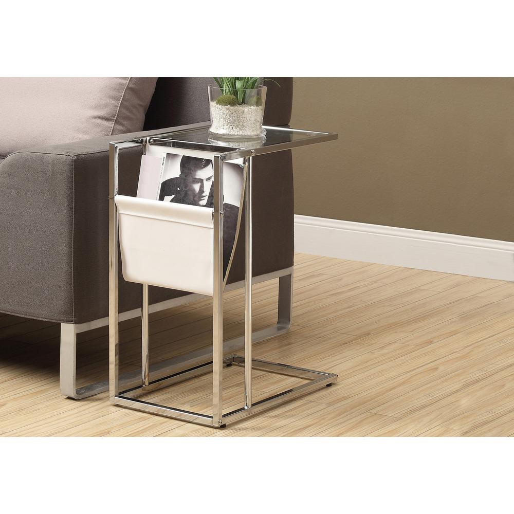 Superbe Monarch Specialties Chrome Magazine End Table