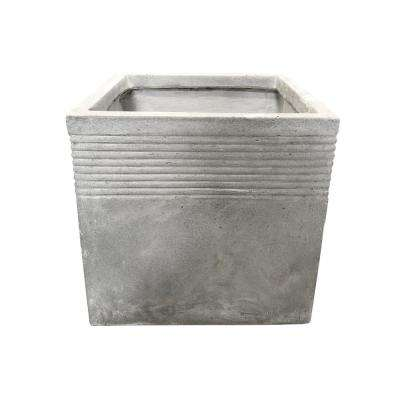 15.00 in. Light Grey Lightweight Concrete Square Stripped Medium Planter