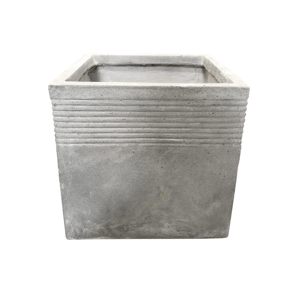 15.00 in. Light Grey Lightweight Concrete Square Stripped Medium Planter