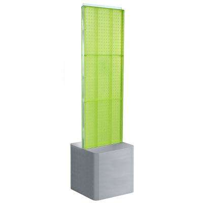 60 in. H x 16 in. W 2-Sided Pegboard Floor Display on an Adjustable Studio Base in Green