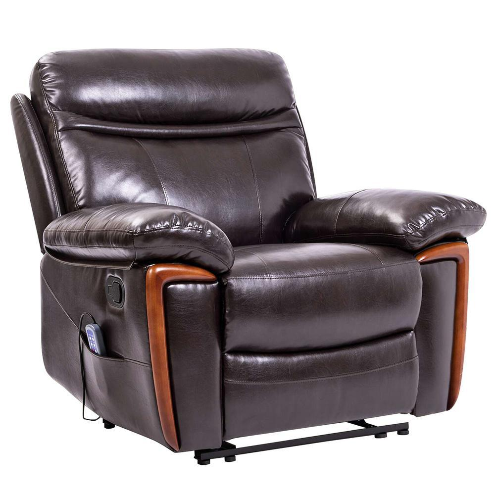 Boyel Living Brown Massage Recliner PU Leather Lounge Sofa Chair with Heat and Massage Vibrating OR PP035352DAA The Home Depot