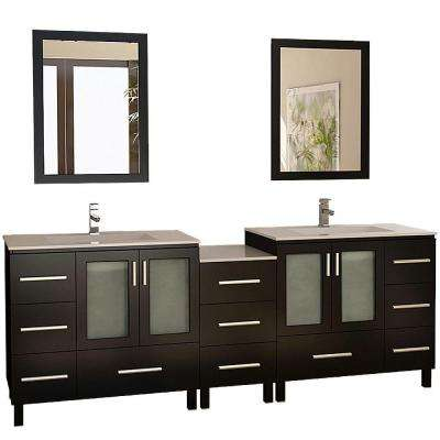 Galatian 88 in. Vanity in Espresso with Porcelain Vanity Top and Mirror in Espresso